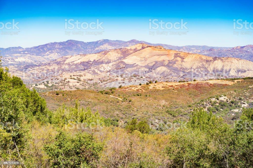 Santa Ynez Valley and San Rafael Mountains in California stock photo
