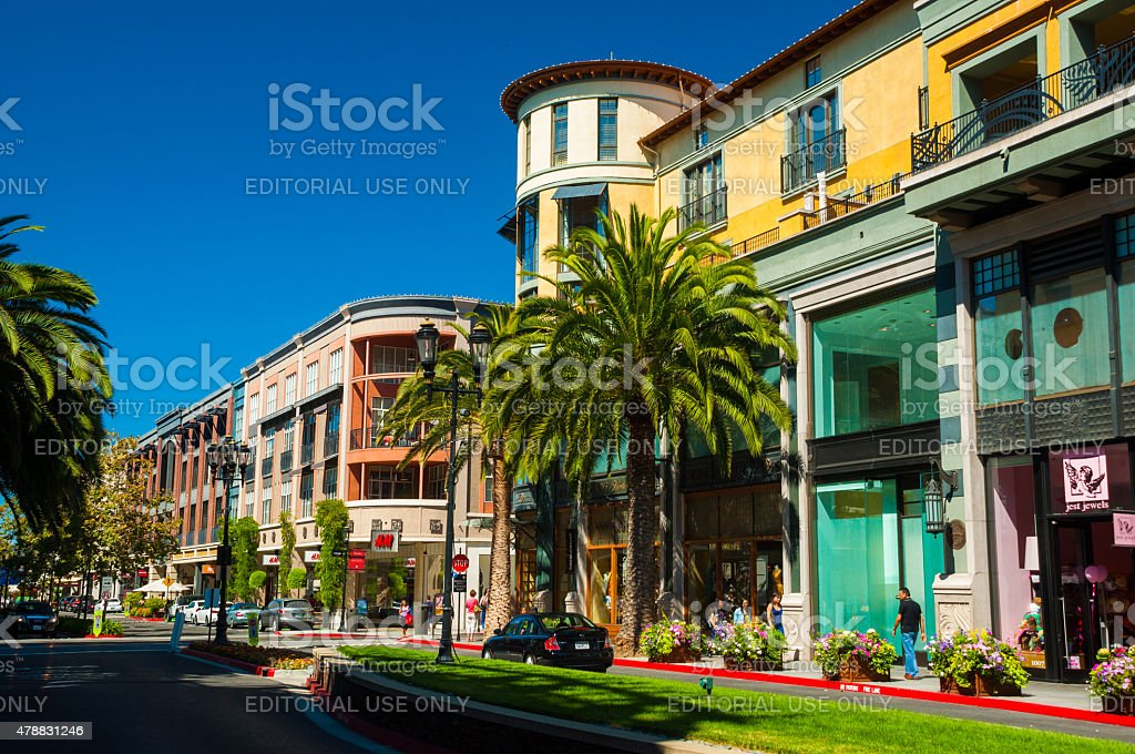 Santana Row buildings in San Jose, California stock photo