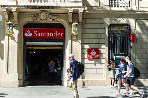 Santander bank branch in Barcelona