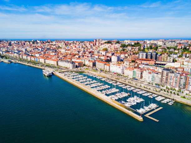 Santander city aerial view, Spain Santander city aerial panoramic view. Santander is the capital of the Cantabria region in Spain cantabria stock pictures, royalty-free photos & images