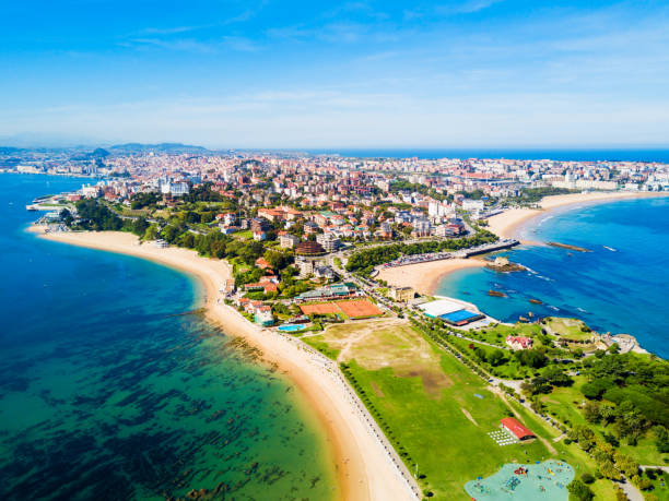 Santander city beach aerial view Santander city beach aerial panoramic view. Santander is the capital of the Cantabria region in Spain santander spain stock pictures, royalty-free photos & images