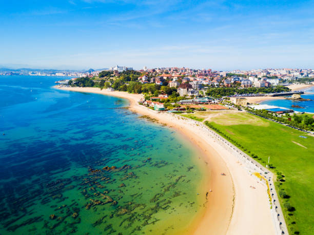 Santander city beach aerial view Santander city beach aerial panoramic view. Santander is the capital of the Cantabria region in Spain cantabria stock pictures, royalty-free photos & images