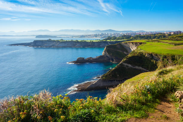 Santander city cliff aerial view Santander city cliff aerial view from the viewpoint near the Faro Cabo Mayor lighthouse in Santander city, Cantabria region of Spain cantabria stock pictures, royalty-free photos & images