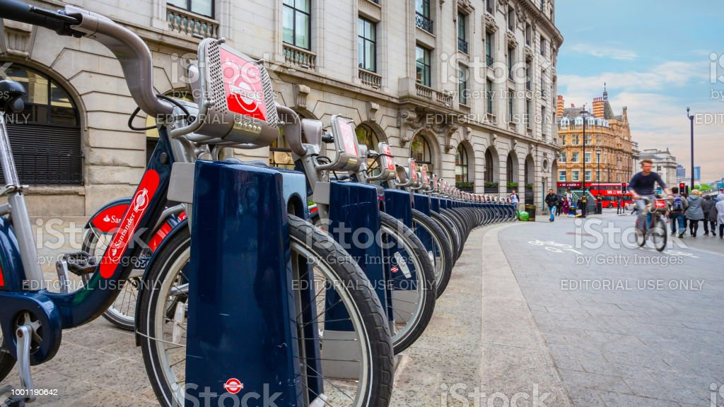 Santander Cycles in London, UK stock photo