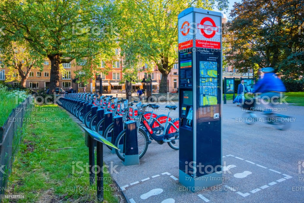 Santander Cycles in London, UK stock photo
