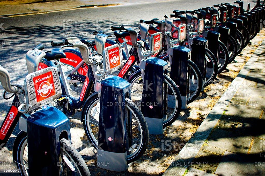 Santander or Boris bikes in London. stock photo