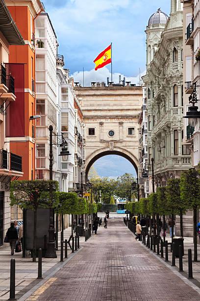 Santander, Spain - Bank building Street scene in Santander santander spain stock pictures, royalty-free photos & images
