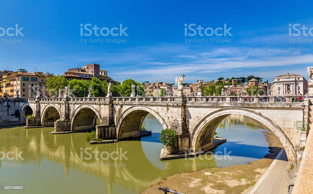 Sant'Angelo bridge in Rome, Italy stock photo