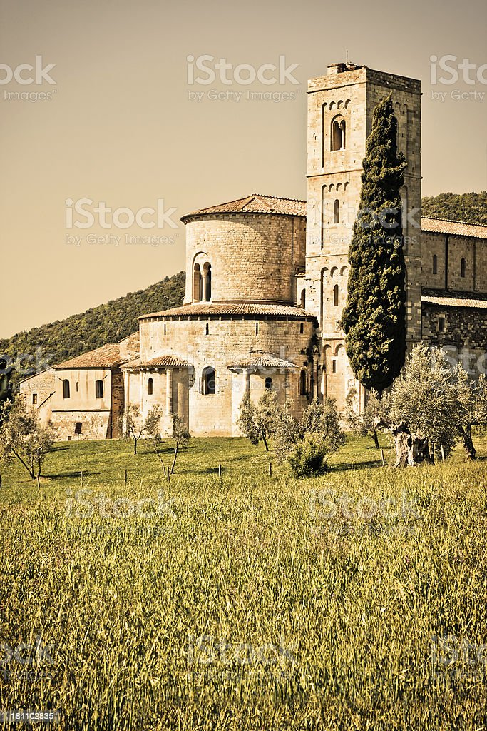 Sant'Antimo Abbey in Tuscany, Ancient Italian Architecture royalty-free stock photo