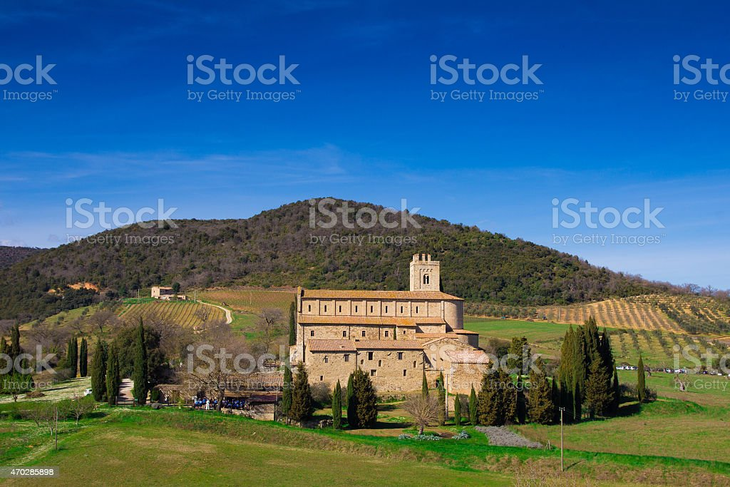 Sant'Antimo Abbey in Val d'Orcia - Tuscany stock photo