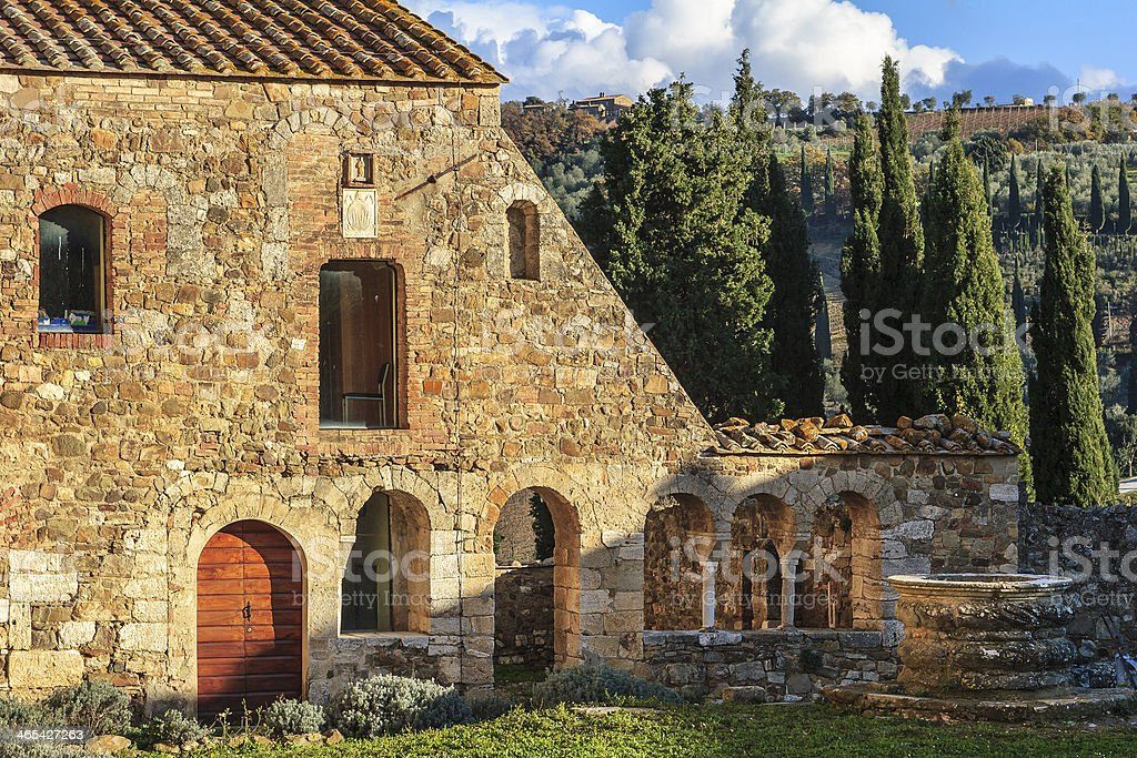 Sant'Antimo Abbey, Montalcino, Italy stock photo