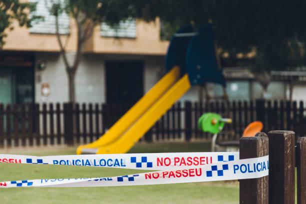 SantaPerpetuaDeMogoda, Barcelona, Spain-April07: Playground sealed by the police stock photo