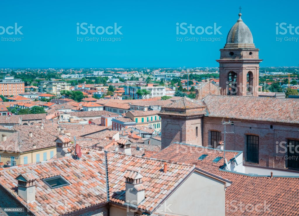 Santarcangelo view of the dome of the old church italy Rimini Italy stock photo