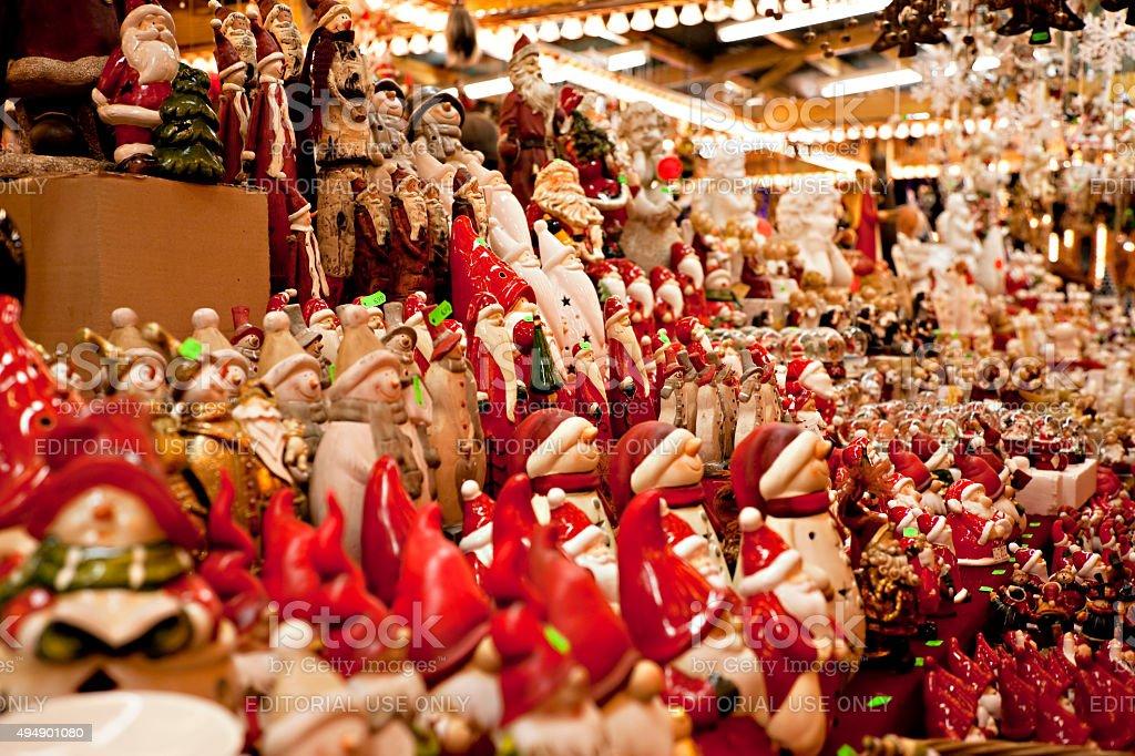 Snowmen At Christmas.Santas And Snowmen At Christmas Market Stock Photo More