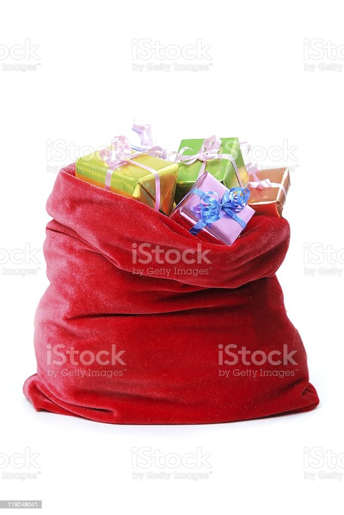 santa`s bag full of presents stock photo