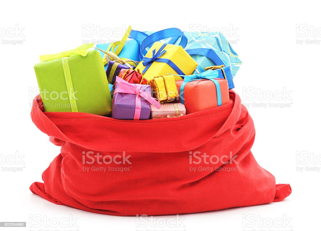Santa's bag of gifts. stock photo