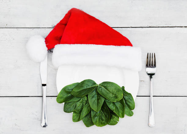 Santa's beard made out of spinach on a plate stock photo