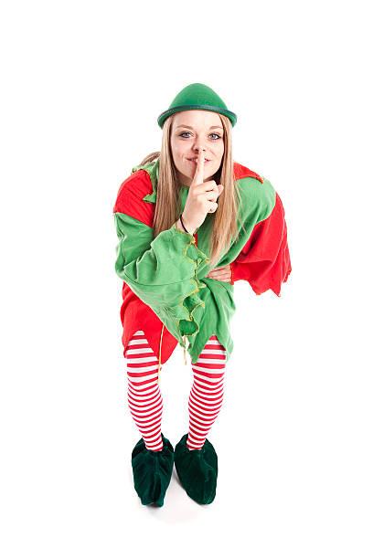 santa's elf hushes sie - elfenkostüm damen stock-fotos und bilder