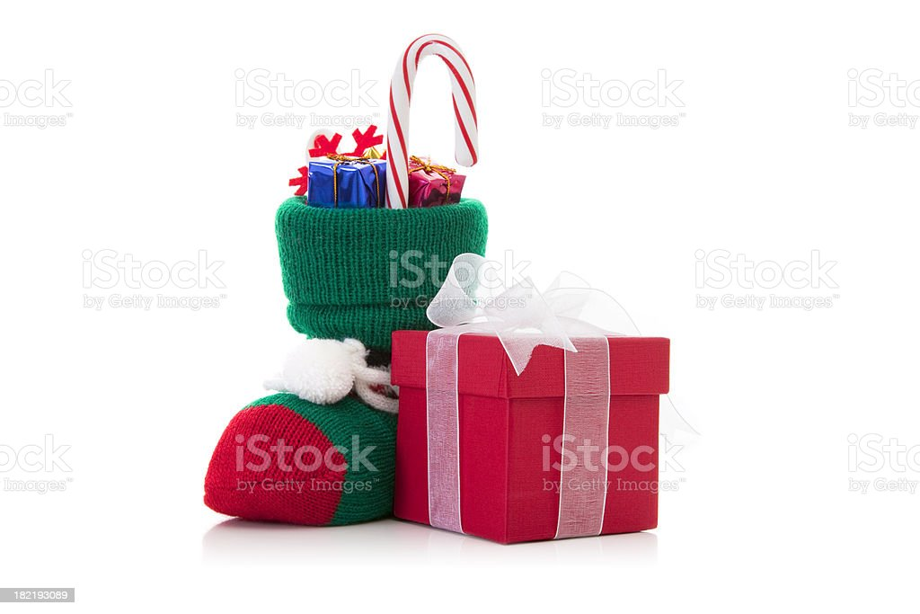 Santa's gift sock with packages stock photo