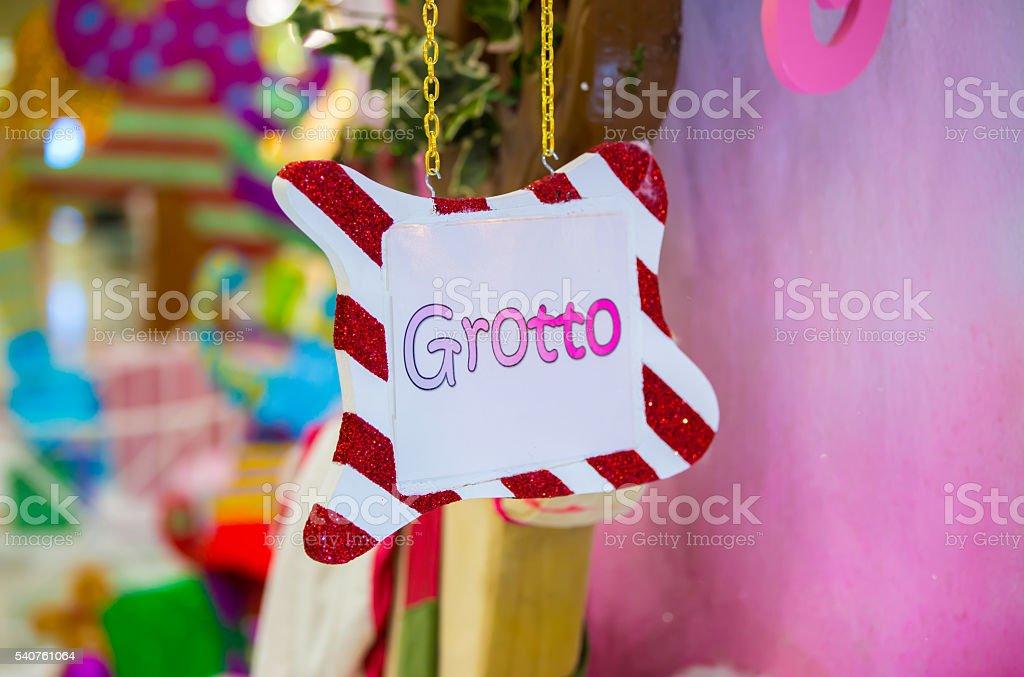 Santa's grotto decoration, Christmas background stock photo