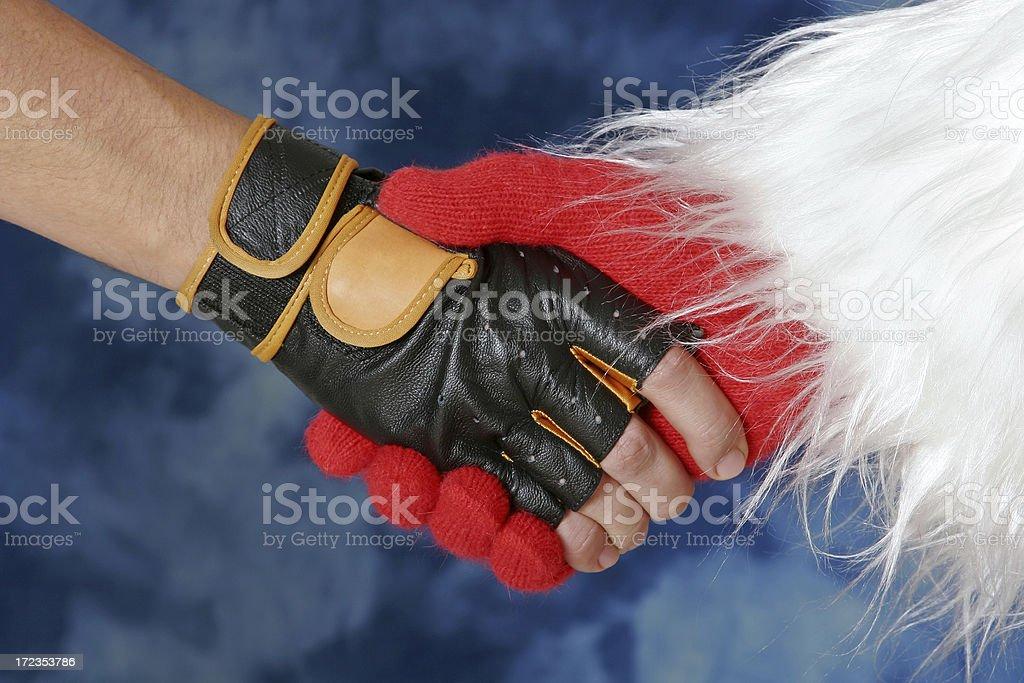 Santa's apretón de manos foto de stock libre de derechos