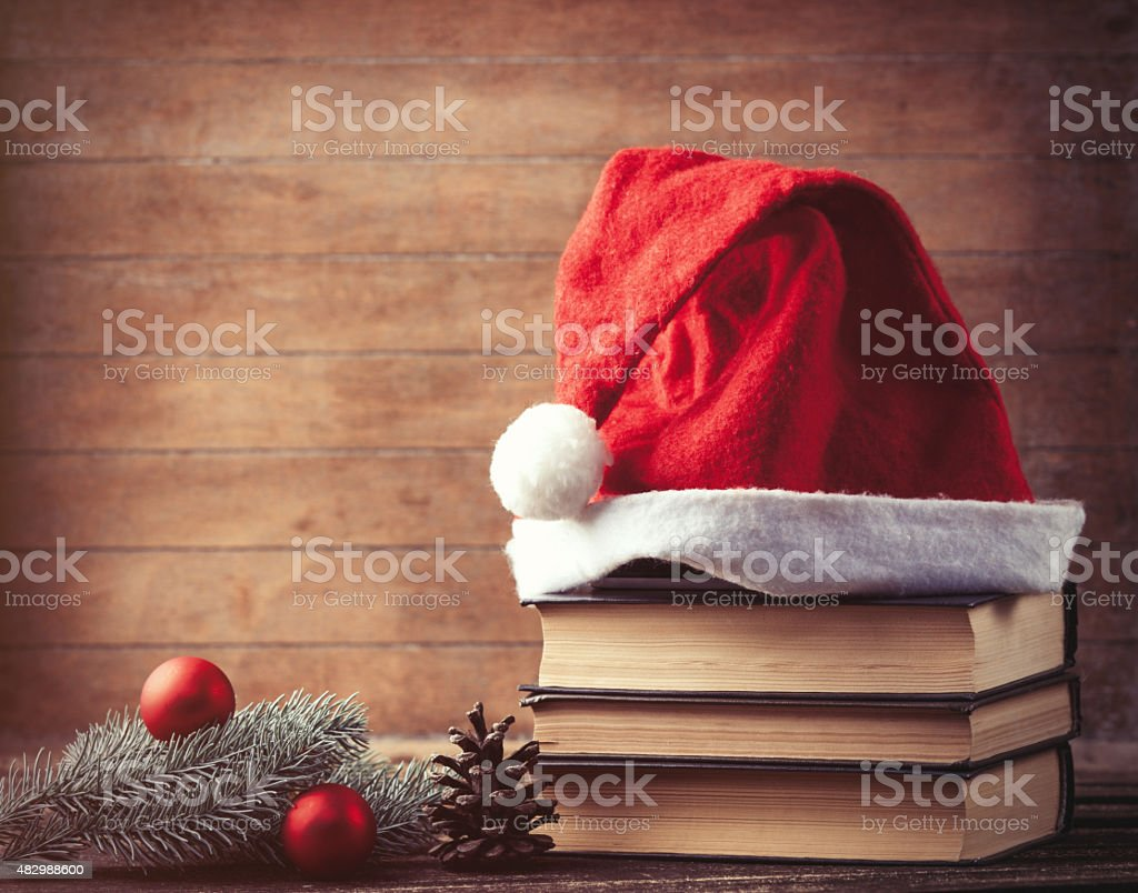 Santas hat and pine brench stock photo