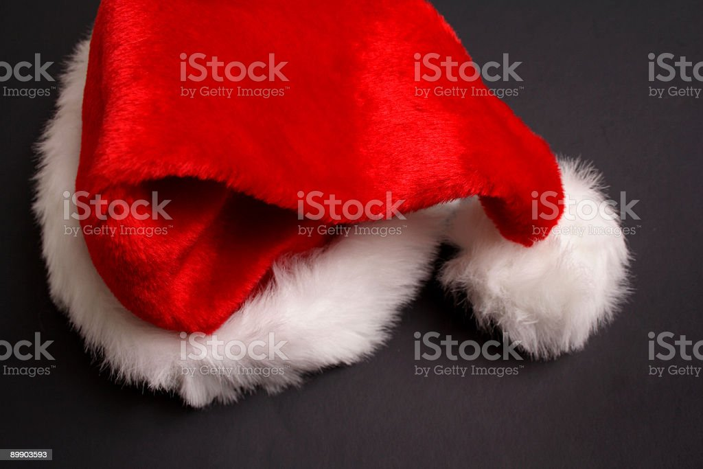 Santa's Hat on black background royalty-free stock photo