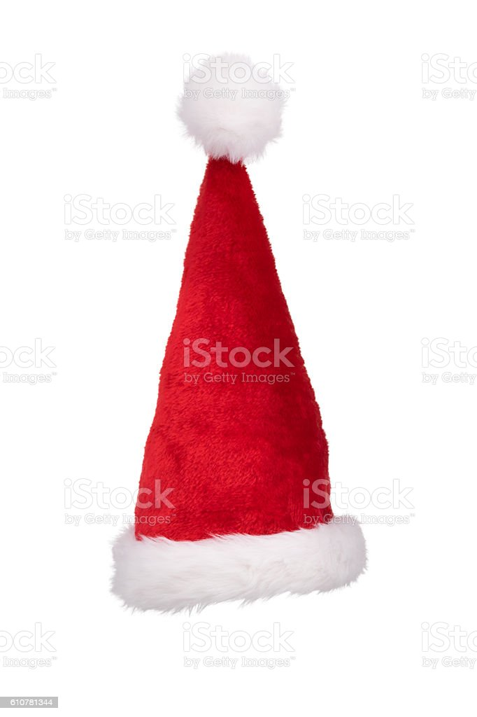 Santa's hat standing straight isolated on pure white stock photo