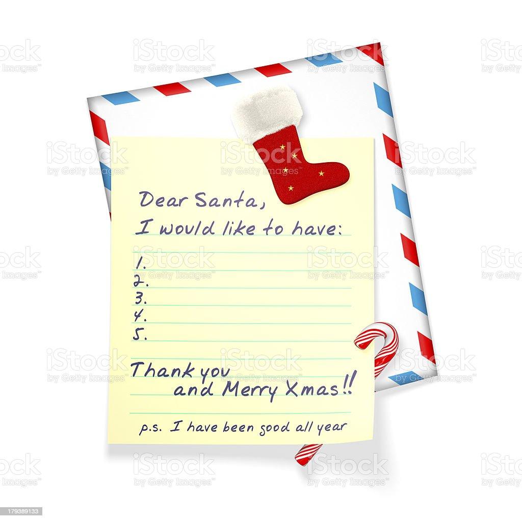 Christmas wish list and christmas sock isolated on white.
