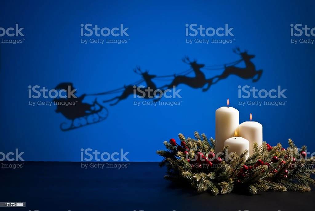 Santas sledge and candles royalty-free stock photo