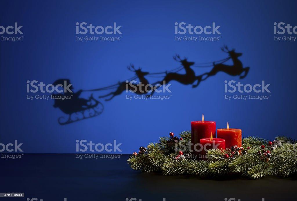 Santas sledge and candles royalty-free stock photo