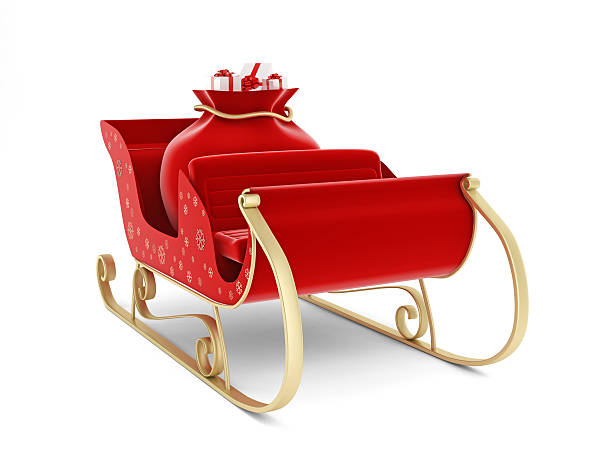 Santa's Sleigh Santa's Sleigh with clipping path sleigh stock pictures, royalty-free photos & images