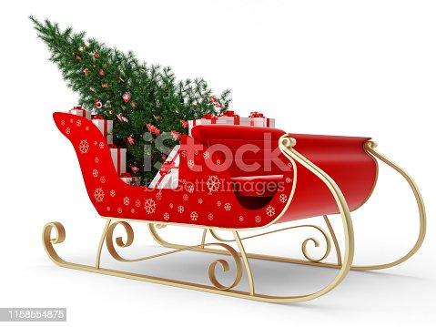 istock Santa's Sleigh with gift and christmas tree 1158554875