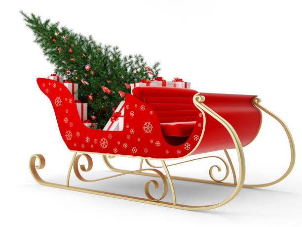 Santa's Sleigh with gift and christmas tree Santa's Sleigh with gift and christmas tree sled stock pictures, royalty-free photos & images