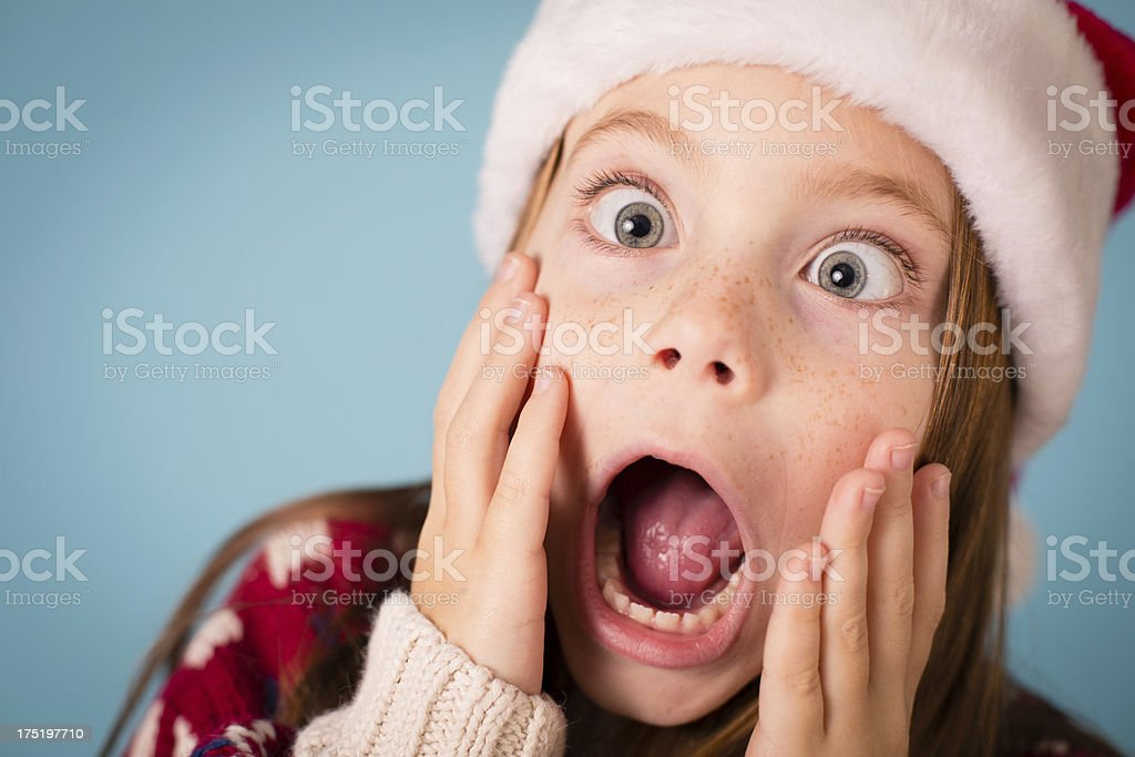 Santa's Stressed/Shocked/Surprised Little Helper royalty-free stock photo