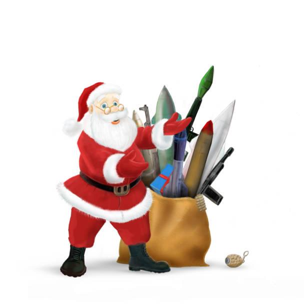 santa's neujahr geschenke, spielzeugpistolen und raketen zu weihnachten - cartoon kostüme stock-fotos und bilder