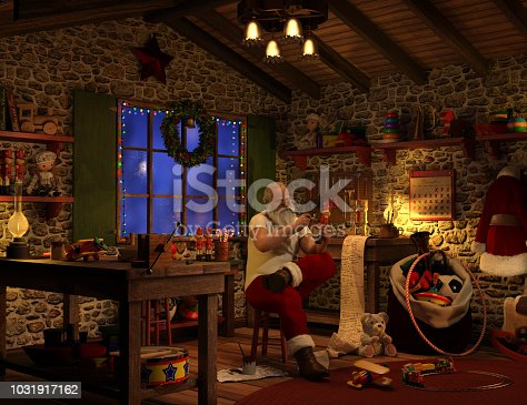 High resolution digital image of Santa working in his workshop. Image shows a physically robust Santa Claus sitting on a wooden stool, carefully painting a toy soldier, with a can of paint sitting on the floor beside him. All about him are the various toys he has been creating, and his naughty and nice list is spilling off his workbench, onto the floor.  Santa's coat hangs on a hook on the wall, and he is working in his undershirt. The calendar on the wall shows it is almost Christmas eve.