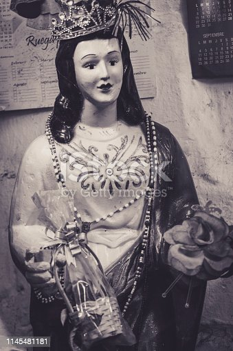 Santeria Statue Mary Holding Baby Jesus copy space