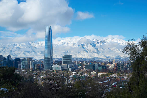 Santiago after the snow stock photo