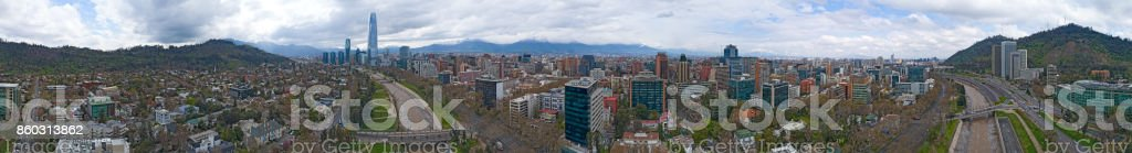 Santiago, Chile 360 Aerial Panorama View of City Skyline, River, and Mountains stock photo