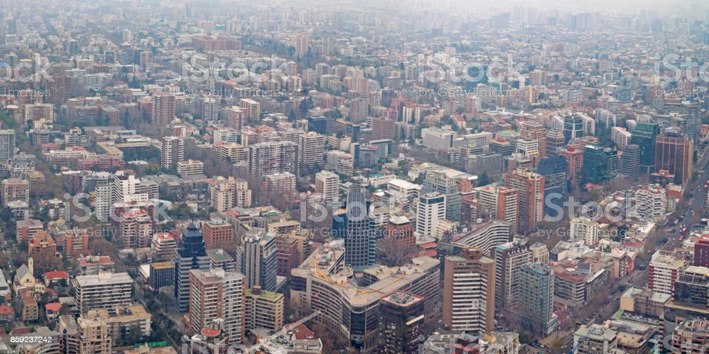 Santiago Chile Aerial Cityscape Panorama Air Pollution Smog stock photo