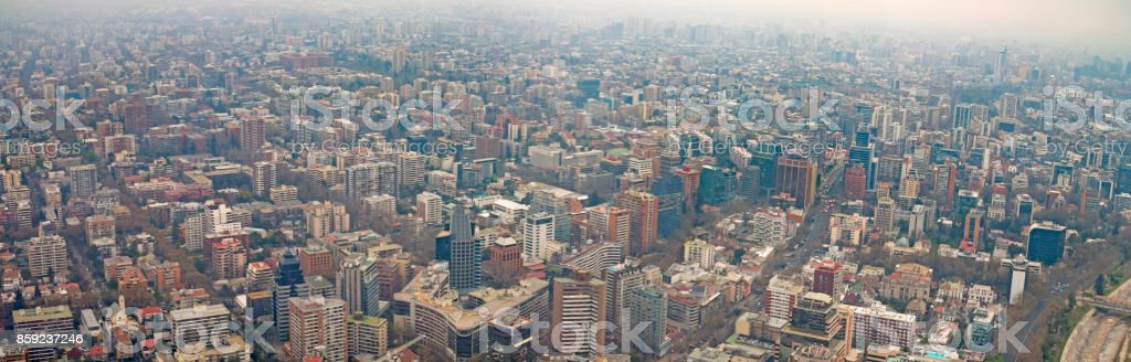 Santiago Chile Aerial Cityscape Panorama on a Smoggy Day stock photo