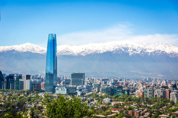 Santiago city in Chile Amazing aerial view of Santiago city with the Andes range covered in snow in the background in Chile chile stock pictures, royalty-free photos & images