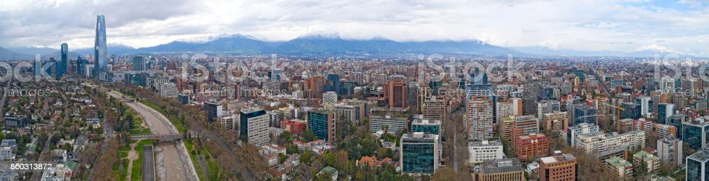 Santiago de Chile Aerial Panoramic View of City Skyscrapers Mountains Landscape stock photo