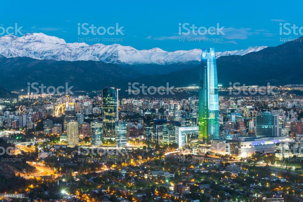 Santiago de Chile at night stock photo