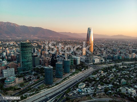 Aerial view of Sanhattan, Santiago Financial District located in the east side of Santiago de Chile