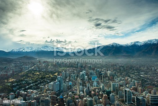 Santiago de Chile from high altitude. Santiago Cityscape