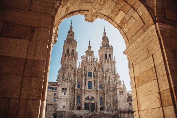 Santiago de Compostela Cathedral Main facade of the Santiago de Compostela Cathedral in Galicia, Spain. This church is the finish of the 'Camino de Santiago' (Santiago Path) pilgrimage route. romanesque stock pictures, royalty-free photos & images