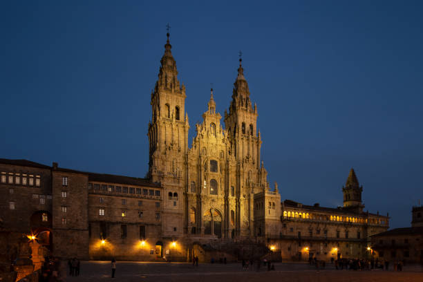 Santiago de Compostela Cathedral view at night stock photo