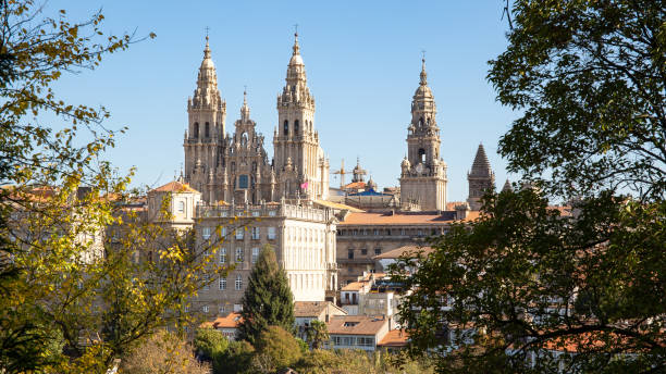 Santiago de Compostela view with Cathedral of Santiago de Compostela Santiago de Compostela Cathedral and its new restored facade alameda california stock pictures, royalty-free photos & images